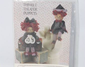 "Thimble Theater Puppets Miniature Annie and Andy 5"" Puppet Dolls 1992 ""Keeping You in Stitches"""