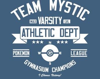 Team Mystic Athletics Dept. - Pokemon GO Men's Unisex T-Shirt - AR Pokemon Gaming Parody Clothing