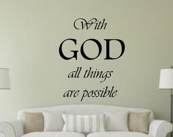 Bible Verse With God All Things Are Possible Insprational Quote wall Sticker vinyl decor Decals decoration decal Scripture cheap Removable