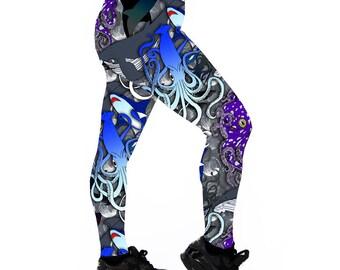 Kraken Leggings. Leggings. Yoga Leggings. Roller Derby Leggings. Octopus Leggings. Whale Leggings. Shark Leggings. Sea Leggings. Fitness.