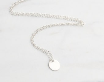 Silver disc necklace, silver coin necklace, tiny disk, dainty silver circle, delicate minimalist layering, simple bridesmaid gift for her