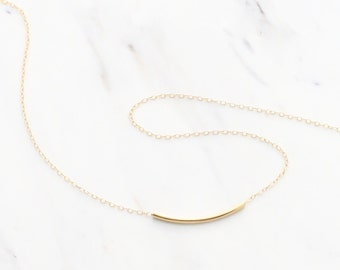 Gold CURVE Necklace, Rose gold curved tube necklace, Curved bar choker, dainty gold layering necklace,  Minimal,  Bridesmaid necklace gift