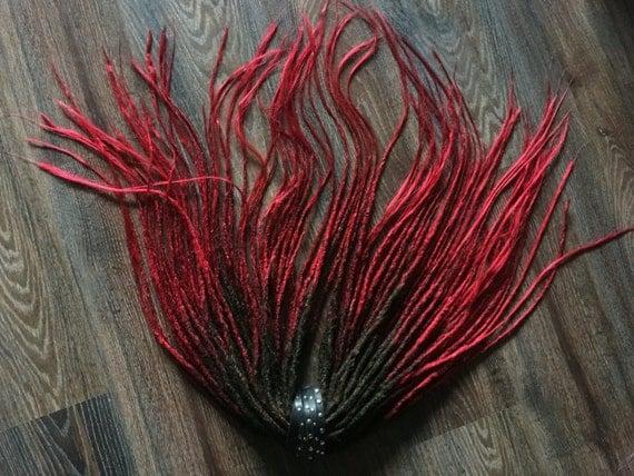 synthetische dreads leidenschaft x10 oder full set schwarz rot. Black Bedroom Furniture Sets. Home Design Ideas