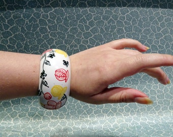 floral painted wooden bangle bracelet