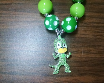 Gecko PJ Masks Disney Inspired Toddler Bubblegum Necklace.  Green Gecko Lizard Pendant Necklace