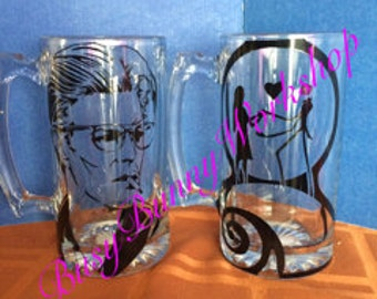 Personalized glass beer stein mug