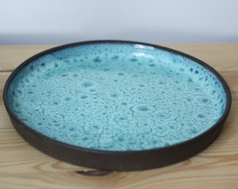 Blue and Black Stoneware Plate – Handmade Ceramic Plate – Ceramic Dinner Plate – Blue Plate