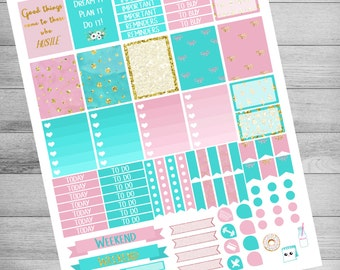 Printable planner Stickers, Pink and Turquoise, print and cut stickers, EC, use with Erin Condren, instant download, weekly, sale stickers