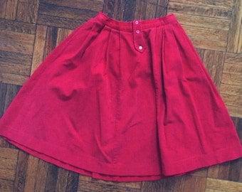 Vintage Knee-Length Red Corduroy Skirt
