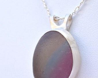 Pastel rainbow multi sea glass necklace
