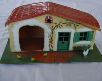 Vieux jouet ferme en bois et carton. Genre starlux Depreux.  Vintage. France