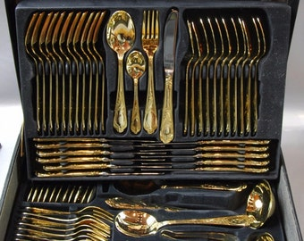What are some retailers that sell gold-plated flatware?