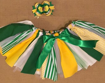 Baylor Bears college team tutu with yellow, gold and green tulle and fabric. College team tutu! OU, UT, A&M, LSU