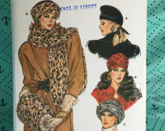 Vintage Fur Hats, Stoles, and Muffs, Vogue Vintage Sewing Pattern 9981