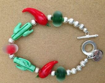 Cactus and pepper lampwork bead bracelet