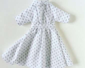White Peter Pan collar dress for Small Tiny Handmade Dolls