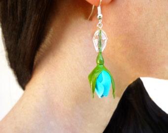 Turquoise earring Flower earrings Cute earrings Long earrings Floral earrings Shades of blue Rose jewelry Unusual jewelry Handmade