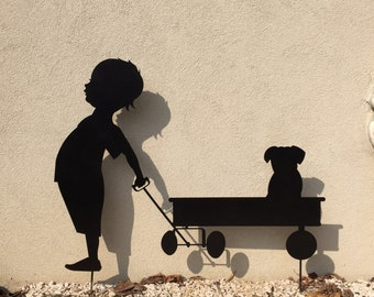 Garden silhouette-child with cart and dog-outdoor furniture iron and steel-metal garden art