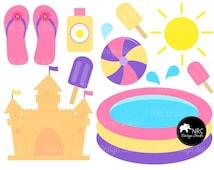 90% SALE Pool, Summer, Girl, Castle, Sun, Beach, Popsicles, Flip Flops Clip Art | Instant Download Commercial Clip Art | NRCDesignStudio
