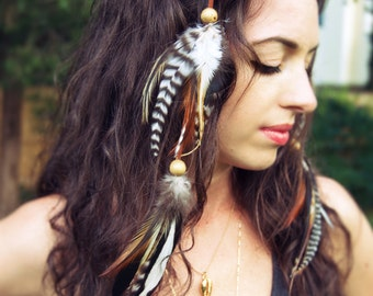 Feather hair clip etsy feather hair clip hair feathers boho feathers roach clip feather extensions pmusecretfo Images