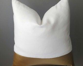 White Linen Faux Leather Gold Decorative Pillow-Custom Design-100% European Linen