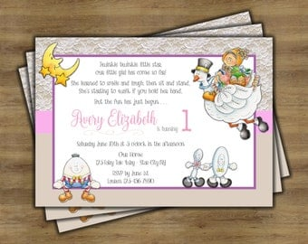Nursery Rhyme Birthday Invitation; Mother Goose; First Birthday Invitation Girl; Printable Invitation
