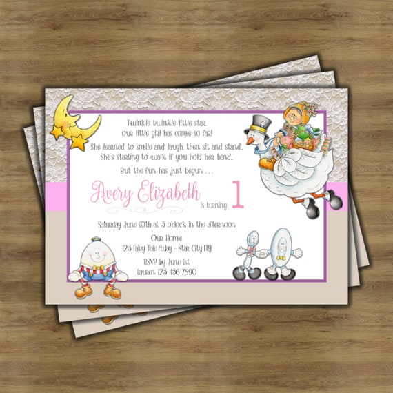 Mother Goose Birthday Party Invitations Nursery Rhyme Invitation By SophisticatedSwan