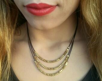 FREE SHIPPING Goldenbeaded#necklace#fashion#Bronze