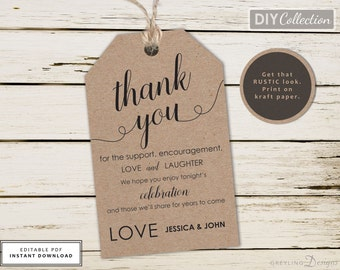 Printable Wedding Thank You Tag, Wedding Tag Template, Thank You Tag, Wedding Gift Tag, Kraft Tag, Tag Template, Instant Download, GD_WT107