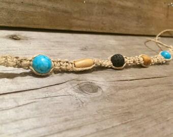 Women's Hemp Bracelet with Turquoise, Black Lava, and Bone Beads