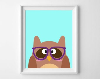 Owl With Glasses | Wise Owl | Animals with Glasses | Animal Nursery Print | Nursery, Playroom Decor | Digital Download