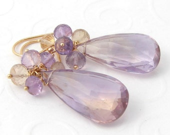 Ametrine earrings 585er yellow gold purple yellow faceted gems, 14 K solid gold