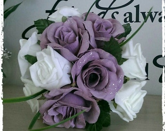 Lilac & Ivory Rose Bridal Bouquet