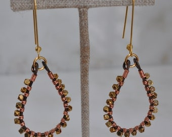 Mixed metal wire wrapped statement earrings