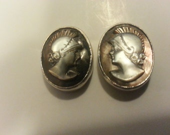Antique Abalone Cameo Cuff Links