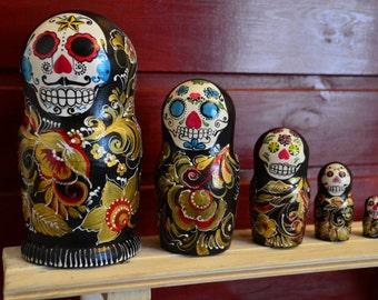 Russian Matryoshka Babushka, Wooden nesting dolls, Skull, handmade
