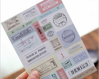 Vintage Sticker. Traveller's note. stamps sticker