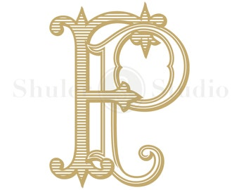 FP Monogram, PF Monogram, Wedding Monogram Design, Digital Monogram, Custom Wedding Monogram, Custom Wedding Logo, Vintage Monogram