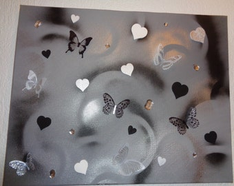 3D canvas, grey, butterfly, 40cm - 60cm