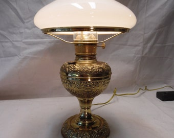Hurricane Lamp with Tam O Shanter Glass Shade - Richmond Brass Base
