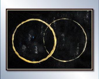 Large modern painting original abstract painting ready to hang, abatract art Minimalist abstract painting (Black & golden abstract painting)