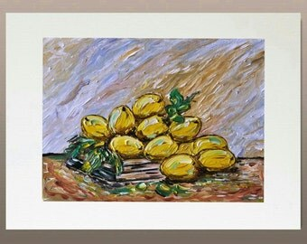Original Oil Painting - Lemons and Books