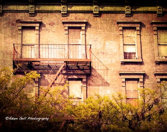 NYC photography,Building, apartment, Brownstone, window Photography,Urban Landscape, Fire escape, Wall Art, Wall Decor,