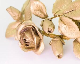 Golden roses headdress ornament