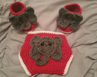 Crochet Elephant Diaper Cover with Booties