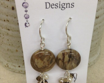 Brown and Ivory Stone Earrings