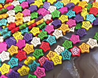 Multi Color Magnesite Star Shape Loose Beads 12mm.SALE