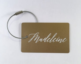 Luggage Tags -  (10 Tags) Gold and White Personalized Luggage Tag/ Back Pack Tag