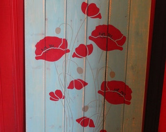 Poppy Flower Pallet Sign