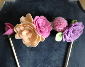 Cake Topper // Felt Flower Cake Topper // Decorative Cake Topper // Felt Flowers